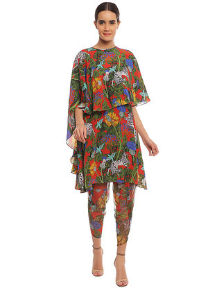 Scarlet Unicorn Meadow Tunic with Net Dhoti and Cape (Set of 3)
