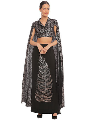 Black Leaf Skirt with Blooming Garden Cape Sleeve Crop Blazer (Set of 2)
