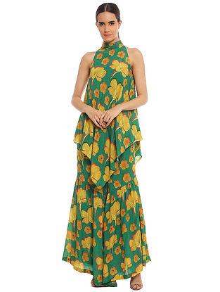Basil Crayon Flowers Asymmetric Tunic with Sharara (Set of 2)