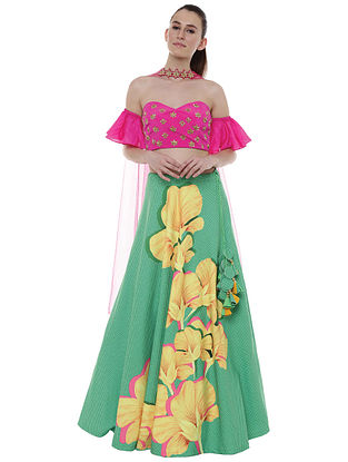 Basil Crayon Flower Lehenga with Blouse and Dupatta (Set of 3)