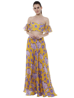 Bumblebee Crayon Flower Lehenga And Off Shoulder Blouse (Set of 2)