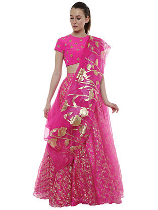 Cabaret Pink Blooming Garden Organza Silk Lehenga with Blouse and Dupatta (Set of 3)