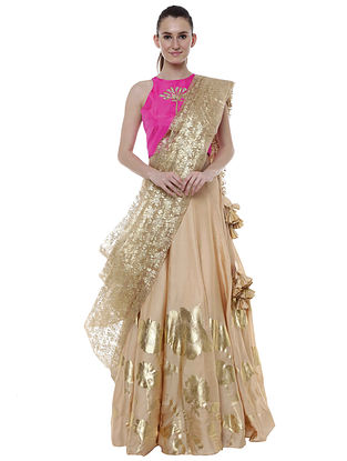 Sand Organza Satin Gold Floral Impression Lehenga with Blouse and Dupatta (Set of 3)