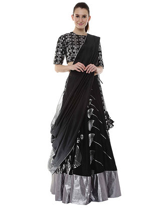 Black Multiprint Polka Swan Lehenga with Blouse and Dupatta (Set of 3)