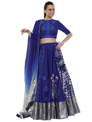 Egyptian Blue Multiprint Polka Swan Lehenga with Blouse and Dupatta (Set of 3)