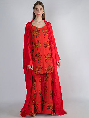 Red Troop Print Tunic with Sharara and Red Crush Cape (Set of 3)