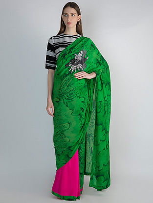 Green-Pink Printed Silk Crepe Saree