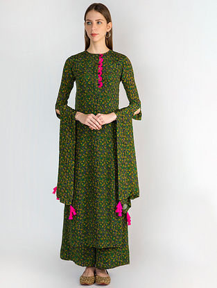 Emerald Floral Rush Kurta with Palazzo and Dupatta (Set of 3)