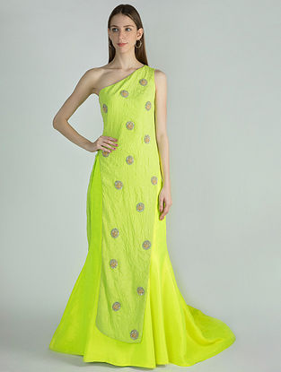 Neon Lehenga with Green Crush One Shoulder Asymmetric Embroidered Top (Set of 2)