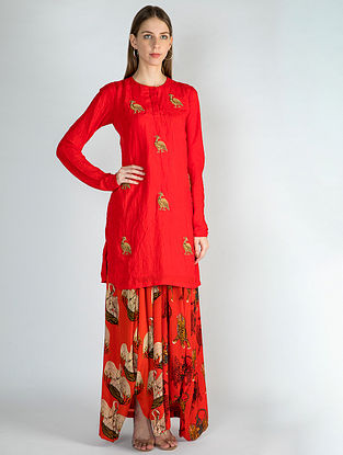 Red Crush Embroidered Tunic with Red Sultan and Temple Swan Drape Skirt (Set of 2)