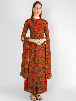 Red A Royal Affair Kurta with Palazzo and Dupatta (Set of 3)