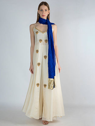 Ivory High Slit Tunic with Blue Crush Dupatta and Ivory Pants (Set of 3)