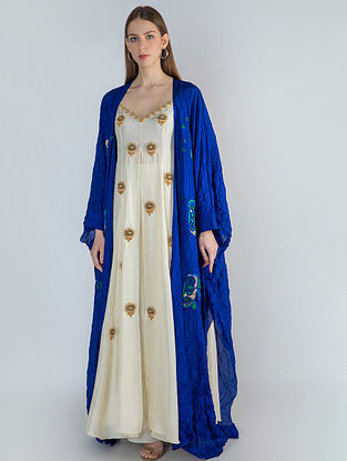 Ivory High Slit Tunic with Blue Crush Cape and Ivory Pants (Set of 3)