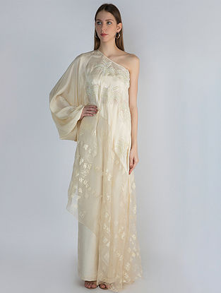 Ivory Manuscript Print Organza with Pearl Embroidered Crepe Tunic and Ivory Pants (Set of 2)