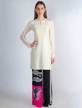 Ivory Crush Bird Embroidery Tunic with Patch Work Pants (Set of 2)