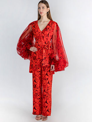 Red Leaf Print Top with Organza Sleeves and Pants (Set of 2)