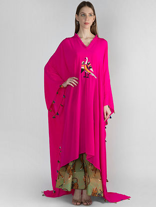 Pink Bird Applique Embroidered Kaftan with Bustier and Mint Sultan Printed Sharara (Set of 3)
