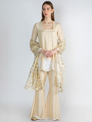 Ivory Beige Pearl Embroidered Tunic with Pants and Gold Arrows Print Organza Dupatta (Set of 3)