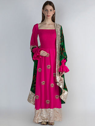 Pink Pearl and Gold Embroidered Kurta with Churidar and Emerald Jungle Print Dupatta (Set of 3)