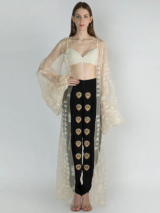 Ivory Manuscript Print Orgnaza Cape with Pearl Bustier and Embellished Dhoti (Set of 3)