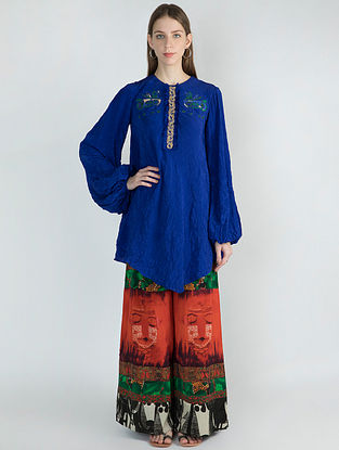 Blue Kurta with Printed Patchwork Pants (Set of 2)