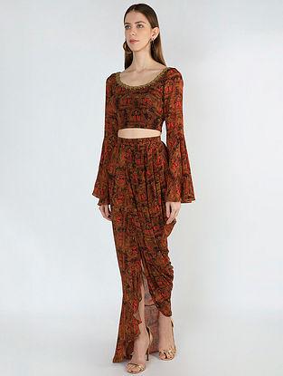 A Royal Affair Print Crop Top with Drape Skirt (Set of 2)