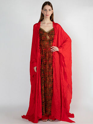 Red A Royal Affair High Slit Tunic with Red Crush Cape and Pants (Set of 3)