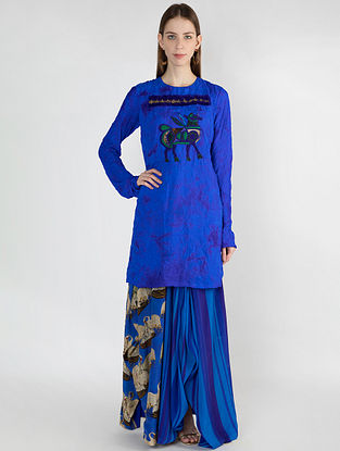 Blue Crush Fray Embroidered Tunic with Temple Swan Skirt (Set of 2)