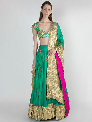 Green Crush Lehenga with Embroidered Blouse and Dupatta (Set of 3)