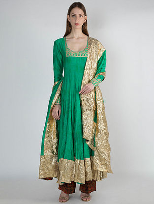 Green Ombre Crush Anarkali with Palazzos and Dupatta (Set of 3)