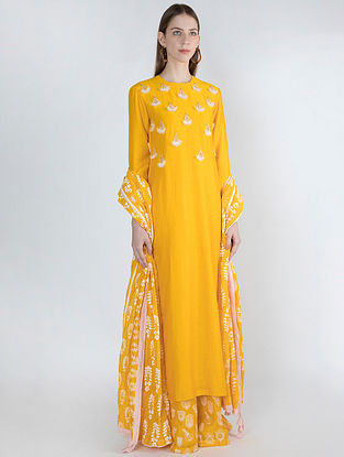 Yellow Chanderi Embroidered Kurta with Palazzos and Dupatta (Set of 3)