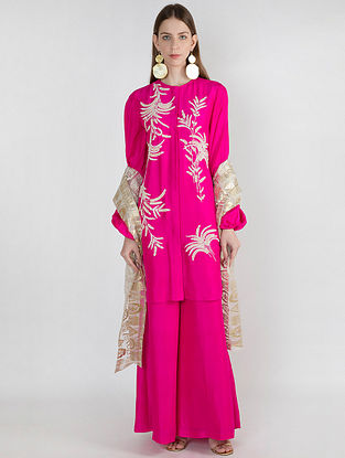 Pink Pearl Embroidred Tunic with Pants and Gold Arrows Print Organza Dupatta (Set of 3)