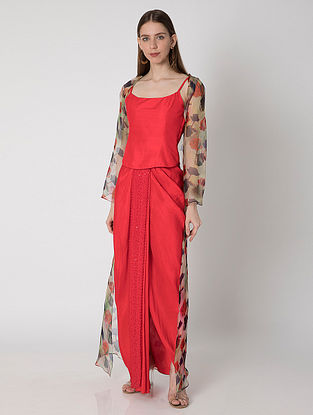Red Wispy Rose Print Organza Cape with Red Draped Silk Skirt and Top (Set of 3)