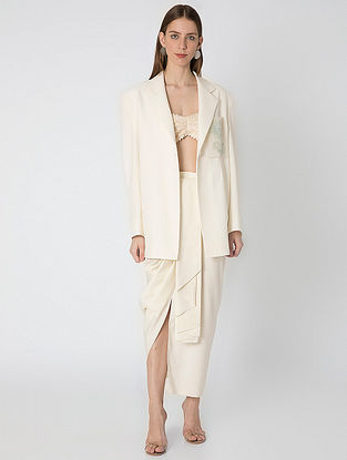 Ivory Over Sized Blazer with Draped Skirt and Net Bustier (Set of 3)