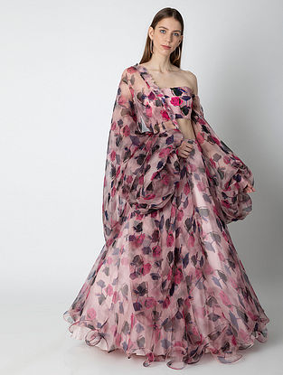 Pink Wispy Rose Organza Silk Lehenga with Crepe Blouse and Cape (Set of 3)