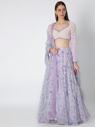 Glossy Eden Print Organza Lehenga with Crepe Blouse and Dupatta (Set of 3)