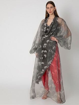 Grey Lost Letters Print Cowled Crepe Top and Organza Cape with Red Silk Dhoti (Set f 3)