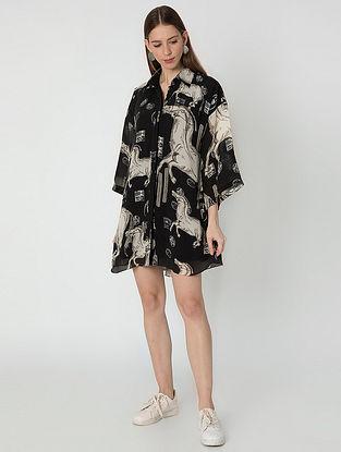 Black Ivory Stallion Short Crepe Dress