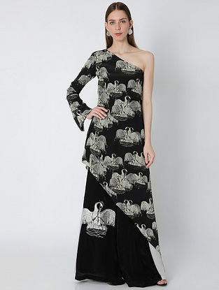 Temple Swan Black Ivory Crepe One Shoulder Tunic with Pants (Set of 2)