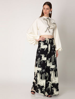 Black Ivory Stallion Crepe Top with Pants (Set of 2)