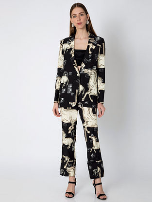 Black Ivory Stallion Blazer with Bustier and Pants (Set of 3)