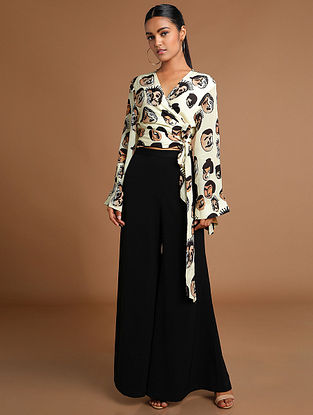 Nude Many Faces Wrap Top Top with Bell Bottoms (Set of 2)