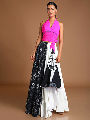 Black and White Thoughts Of Thoughts High Low Skirt with Top (Set of 2)