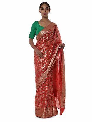 Red-Green Banarasi Saree with Blouse Piece (Set of 2)