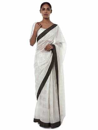 Ivory-Black Crepe Saree with Blouse Piece (Set of 2)