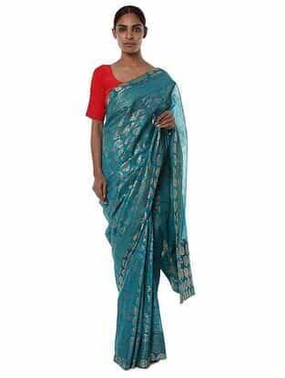 Teal-Red Banarasi Saree with Blouse Piece (Set of 2)