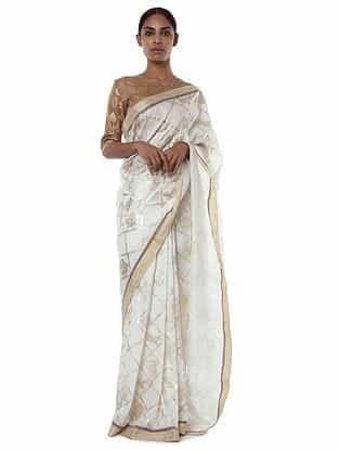 Nude-Ivory Banarasi Saree with Blouse Piece (Set of 2)