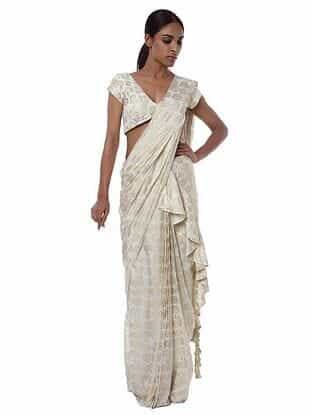 Ivory Crepe Saree with Blouse Piece (Set of 2)