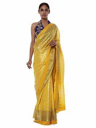 Yellow-Blue Banarasi Saree with Blouse Piece (Set of 2)