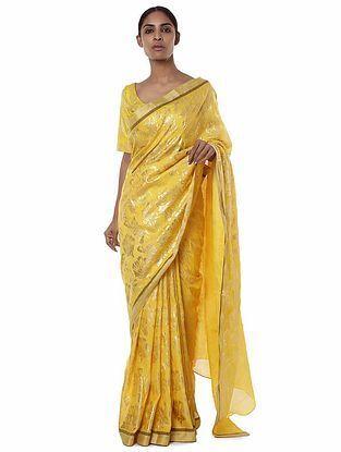 Yellow Banarasi Saree with Blouse Piece (Set of 2)